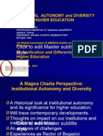 Institutional Autonomy and Diversity In Higher Education