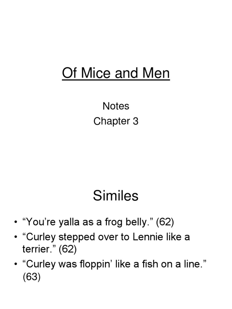 Of Mice And Men Chapter 3 Notes