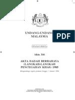 Akta Dadah Berbahaya (LLPK) 1985 - Akta 316