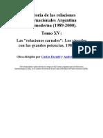 Historia de Las Relaciones Exteriores Argent in As Tomo XV