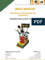 LAMBDA MINIFOR Bi or Reactor Ferment Ad Or de Lab Oratorio Resumen de Innovaciones y Ventajas
