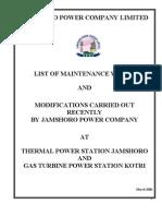 Details of Maintenance Activity of Jamshor & Kotri 18