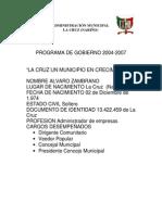 Programa de Gobierno Alvaro Cruz