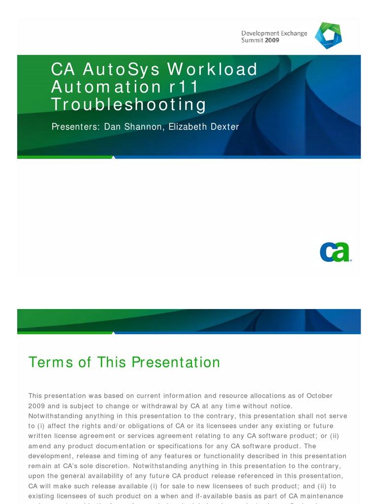 CA AutoSys WA-CAAutoSys WCC Workload Automation r11