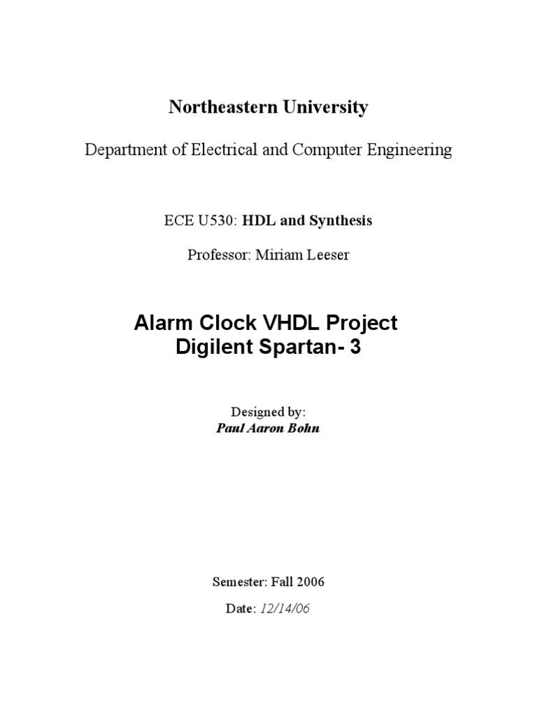 Alarm Clock Project Final Report | Vhdl | Field Programmable