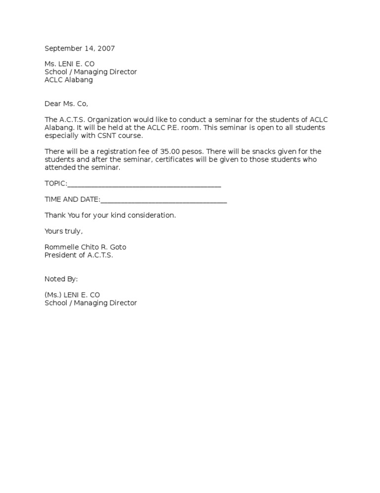 Excuse Letter For Seminar