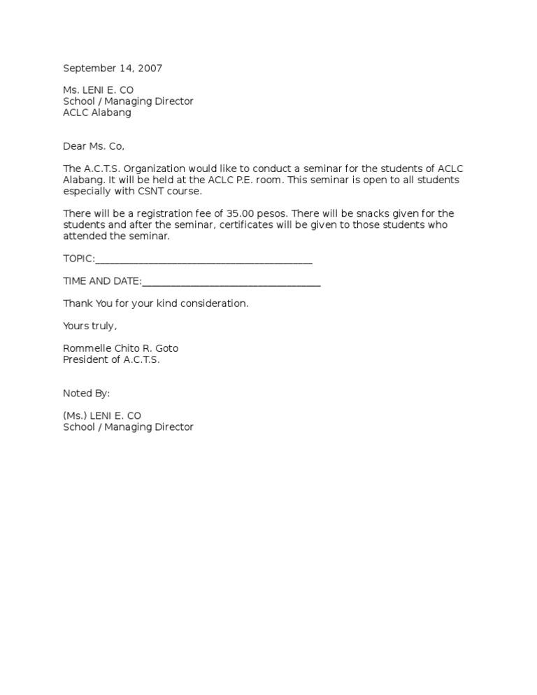 Seminarpermission letter yadclub Images
