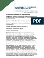 Plaguicidas Con Solicitudes de PROHIBICION y de SEVERA RESTRICCION