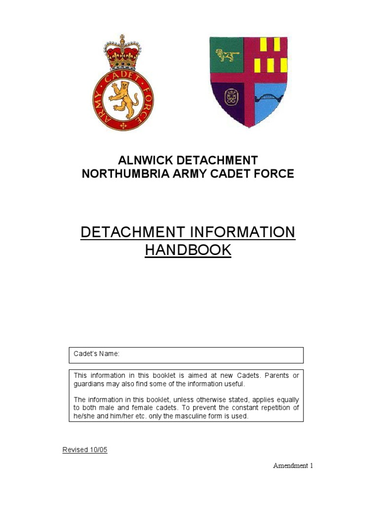 detachment handbook amdmt cadet non commissioned officer