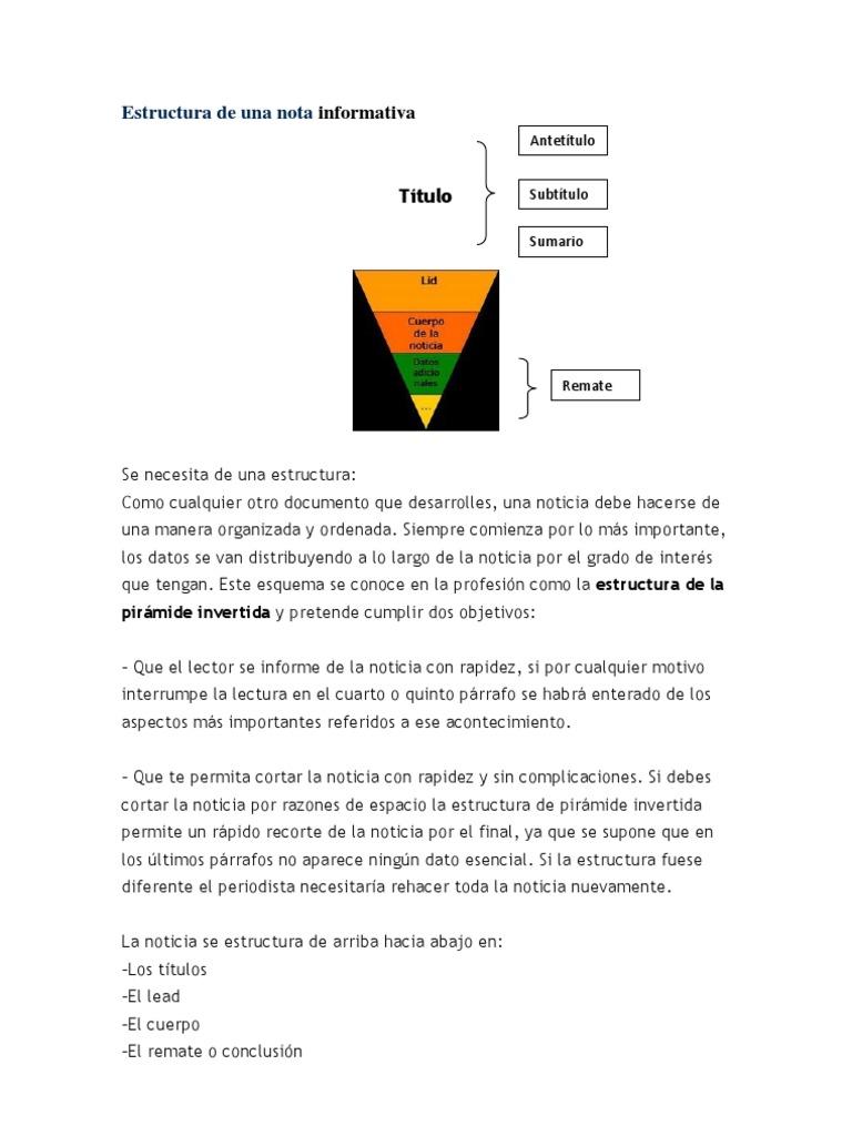 Estructura De Una Nota Informativa Lectura Proceso