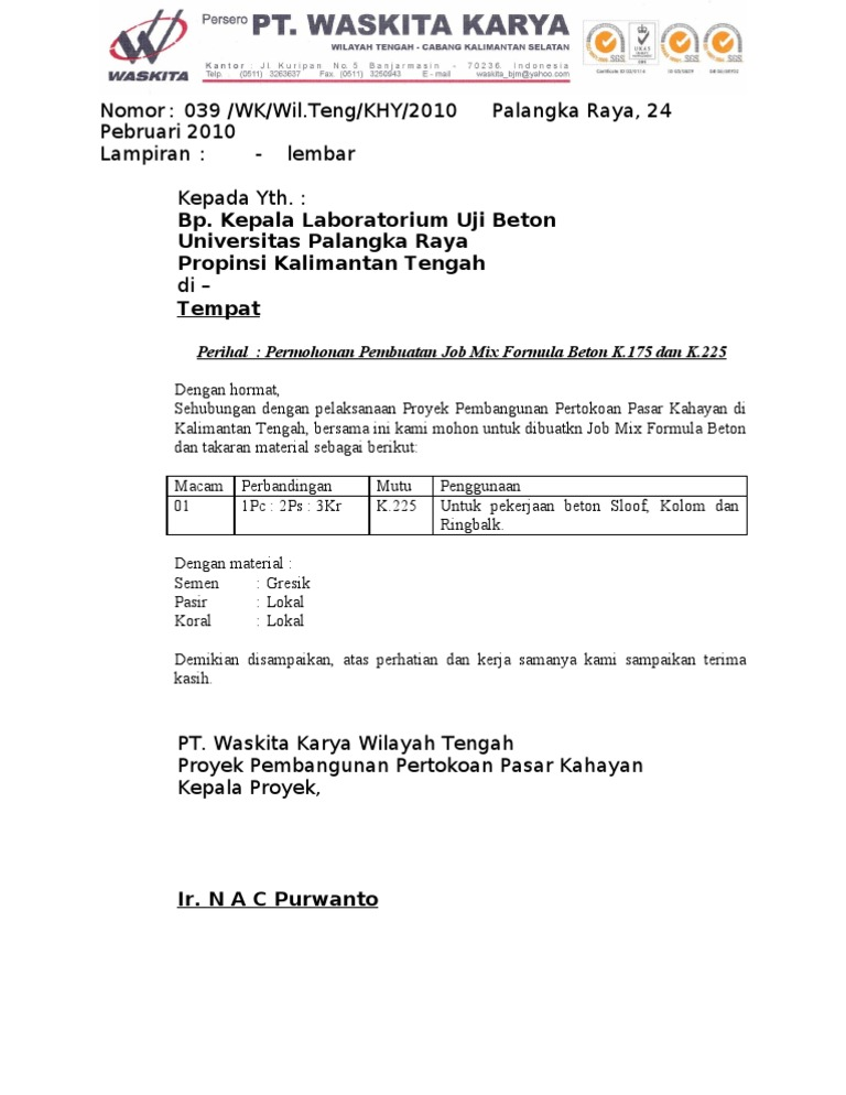 Contoh Surat Permohonan Uji Mutu Beton - Contoh Seputar Surat