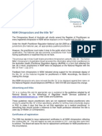 NSW Chiropractors and the Title Dr Fact Sheet