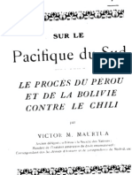 Sur Le Pacifique Du Sud. Le Proces Du Perou Et de La Bolivie Contre Le Chile. (1922)