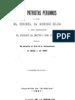 Tres patriotas peruanos. El Coronel Dn Remigio Silva y sus hermanos el abogado Dn Mateo y Dñ Frigida. Su actuación en favor de la Independencia de Chile y Perú. (1921)