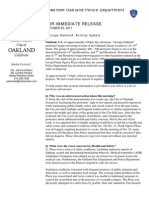Oakland Police press release on Occupy Oakland