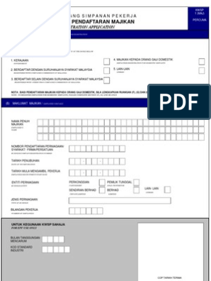 Permohonan Pendaftaran Majikan Employer S Registration Application