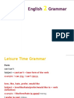 English 2 Grammar-Leisure Time Unit 2
