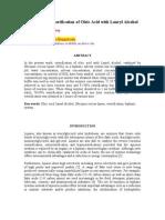 Enzymatic Esterification of Oleic Acid With Lauryl Alcohol