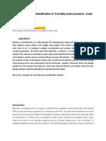 Study of Kinetics of Esterification of Free Fatty Acids Present in Crude Jatropha Oil