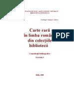 Carte rară în limba română din colecţiile bibliotecii