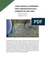 Casos de atentado contra el patrimonio arqueológico del departamento de Lima
