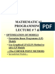 D S Lecture 8 &9 - Optimization of Linear Models