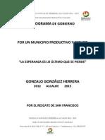 Plan de Gobierno Gonzalo González Herrera Por un Municipio Productivo y Seguro 2012 - 2015