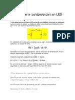 Cálculo de la resistencia para un LED