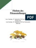 Pilzliste Der Pilzausstellungen Vom 25+2692010