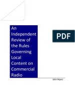 'An Independent Review Of The Rules Governing Local Content On Commercial Radio' by John Myers