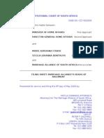 Home Affairs - Fourie - Filing Sheet