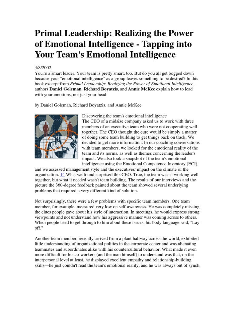 Primal Leadership Tapping Into Yourteams Emotional Intelligence   Leadership    Leadership & Mentoring