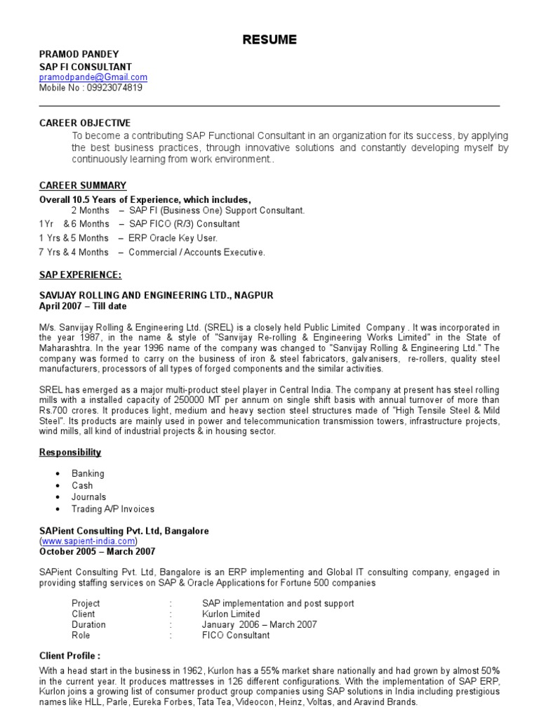 Lovely Sap Fico Resume With 2 Years Experience Ideas Example