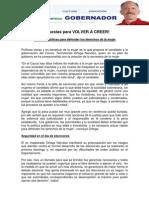 Propuestas para VOLVER A CREER! Políticas públicas para defender los derechos de la mujer