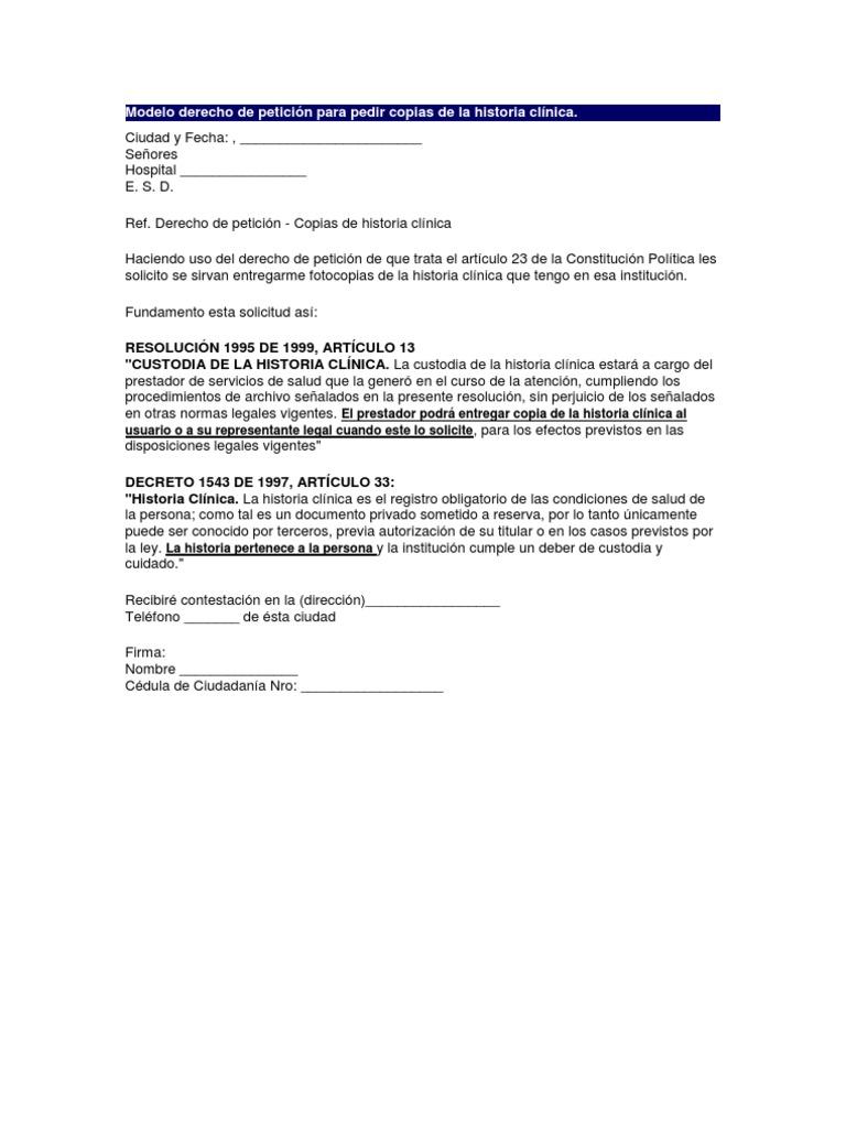 Modelos derecho de petición para pedir copias de la historia clínica ...
