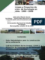 grupos, líneas y proyectos de investigacion sociologia Colombia 1990 - 2008