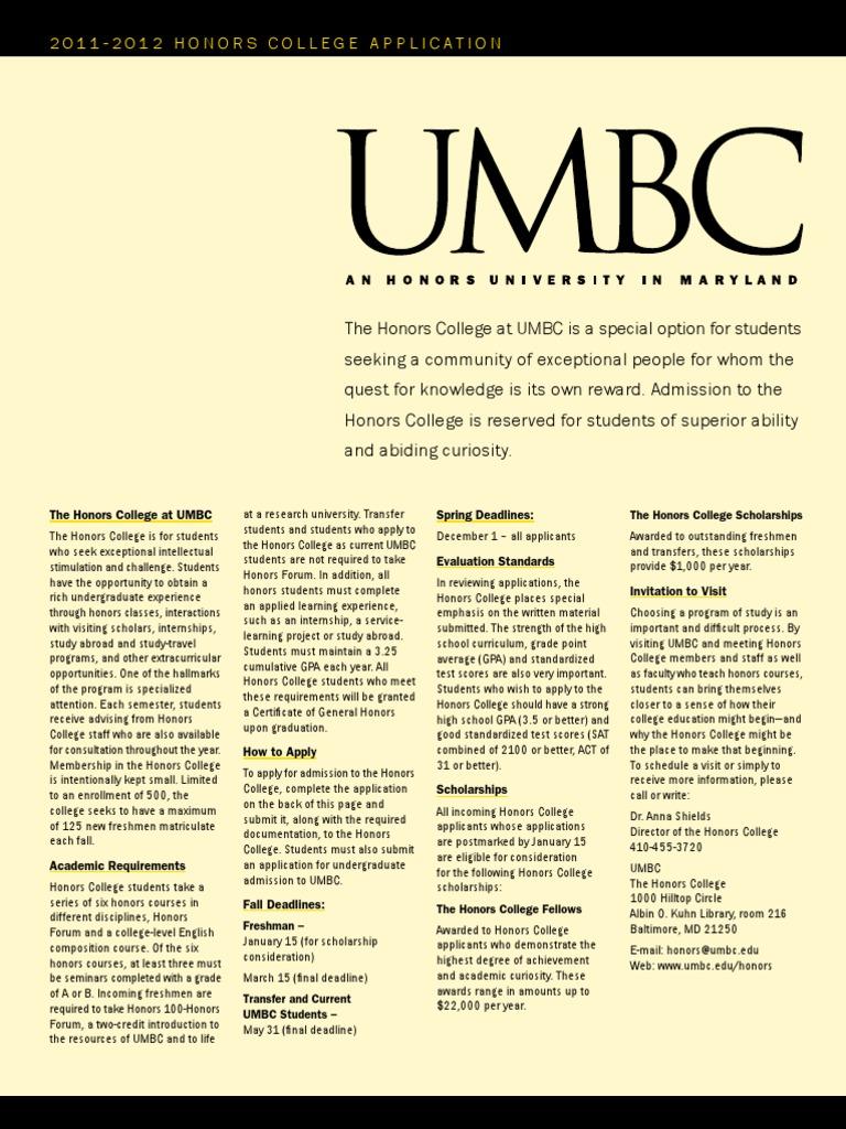 umbc honors essay
