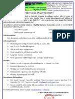 Recruitment Announcement and Jobs Descriptions