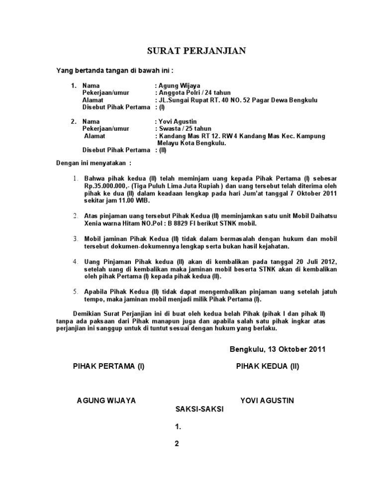 Contoh Surat Perjanjian Pinjaman Wang Dengan Kawan