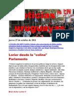 Noticias uruguayas Jueves 27 de Octubre de 2011
