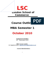 MBA 1 Course Outline October 2010(2)
