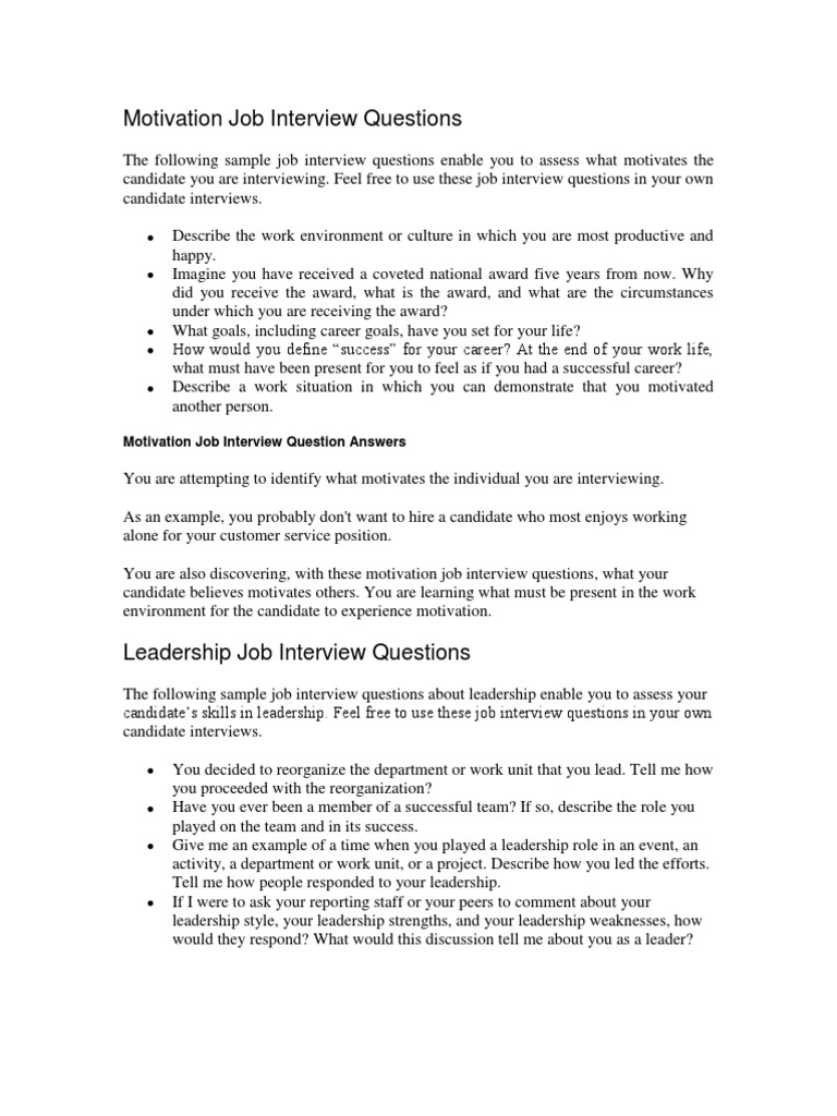 interview questions 128 job interview leadership