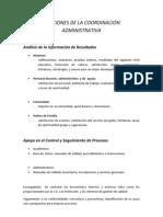 FUNCIONES DE LA COORDINACIÓN ADMINISTRATIVA