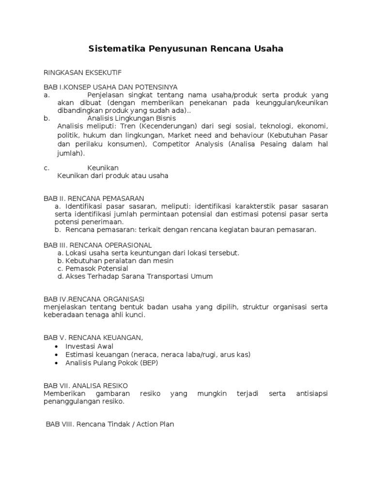 Sistematika Penyusunan Business Plan Rencana Usaha Tugas Kewirausahaan