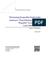 """Decreasing Inequality Under Latin America's """"Social Democratic"""" and """"Populist"""" Governments"""