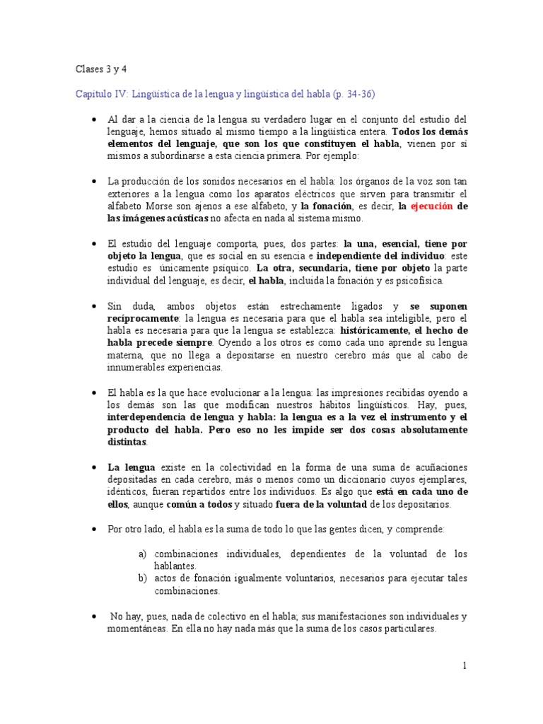 clases 3 y 4) capítulo iv y otros. Saussure