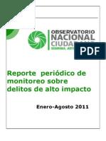 reporte incidencia delictiva - octubre 2011