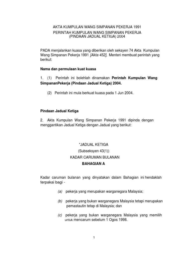 Kwsp Jadual Ketiga