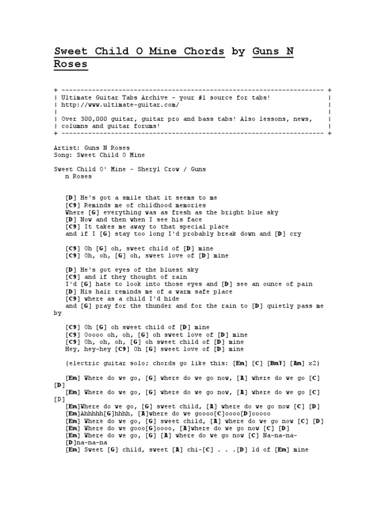 Sweet Child O Mine Chords by Guns N Roses   PDF   Song Structure ...