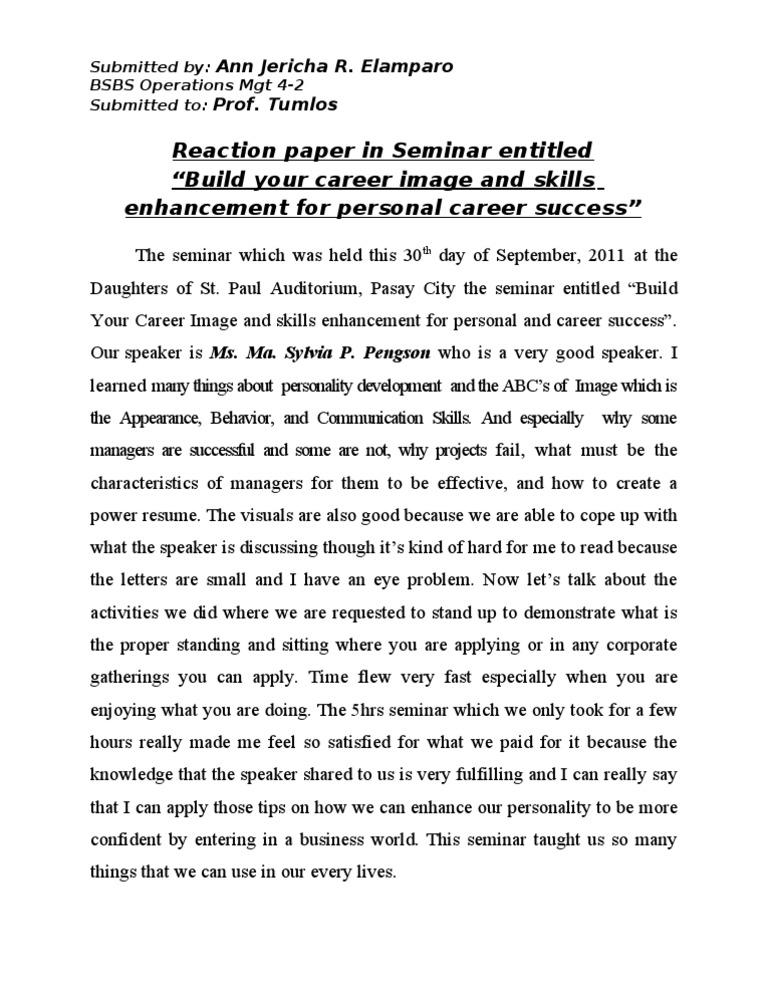 reaction paper in seminar entitled  u201cbuild your career